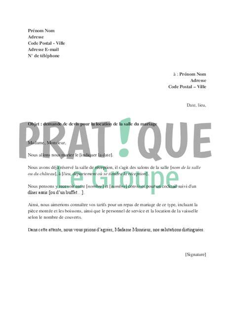 Demande De Location Lettre Demande De Devis Pour La Location De Salle Du Mariage Pratique Fr