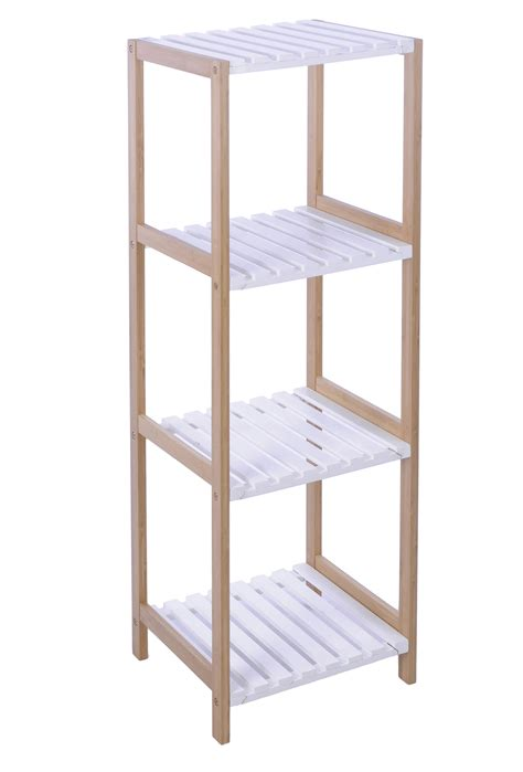 Bathroom Standing Shelves Bathroom Shelf Rack Standing Wooden Bamboo White 3 4 Shelves Ebay