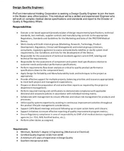 design engineer job responsibilities quality engineer job description 9 exles in word pdf