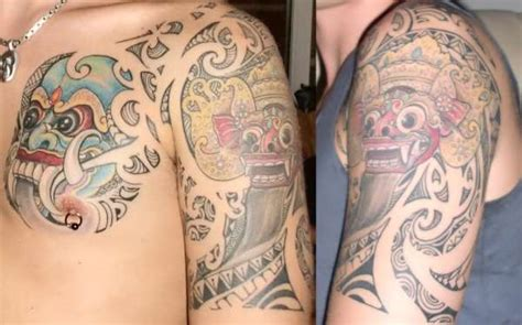 best cover up tattoo artist bali balinese barong rangda tattoo