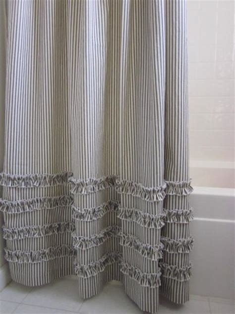 vintage ticking stripe shower curtain  ruffles extra