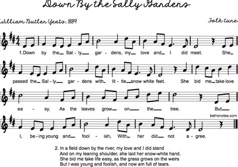 By The Sally Gardens by By The Sally Gardens Beth S Notes