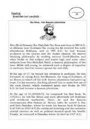 ibn sina biography english english worksheet ibn sina a famous physician