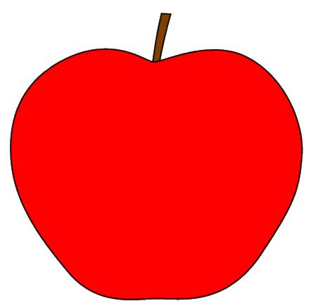red apple with stem clipart sketch, op lge 11 cm | this
