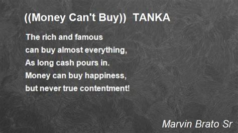 money can t buy tanka poem by marvin brato sr poem