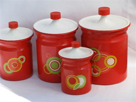 vintage style kitchen canisters 60s vintage canister set kitchen canisters w big mod circles