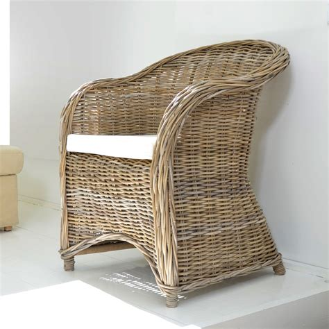 Wicker Armchair by Tikamoon Kubu Rattan Vegetable Fibre Wicker