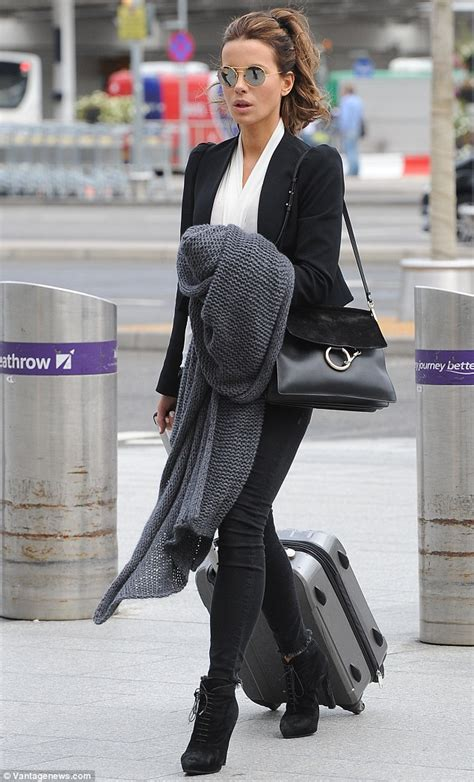 Wardrobe On The News by Kate Beckinsale In Skin Tight And A Cropped Blazer
