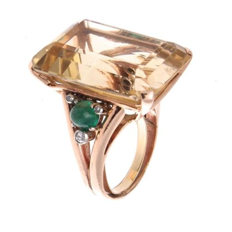 retro citrine emerald gold cocktail ring at 1stdibs