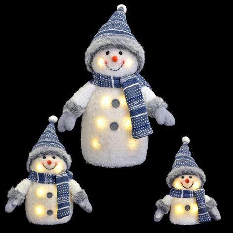 blue white light up snowman xmas decoration hat scarf 33