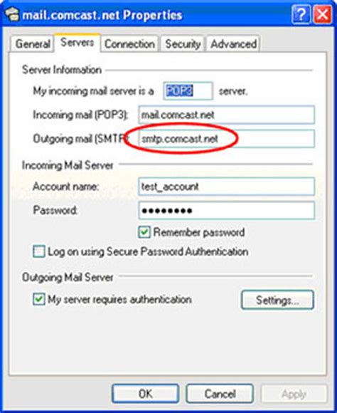 setting up outlook express for comcast email webmail