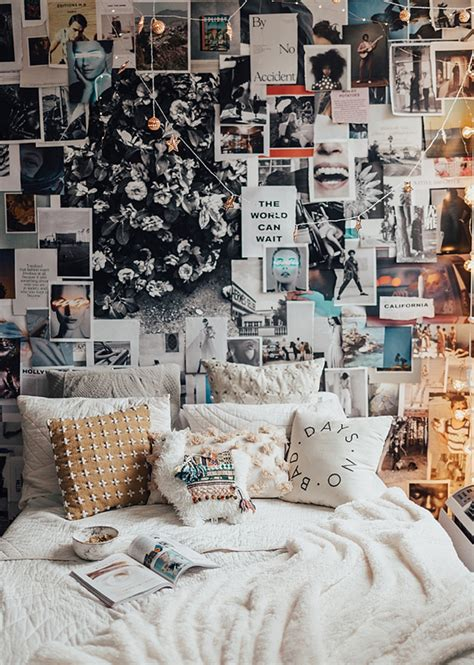 bright bedroom  collage wall decorations home design