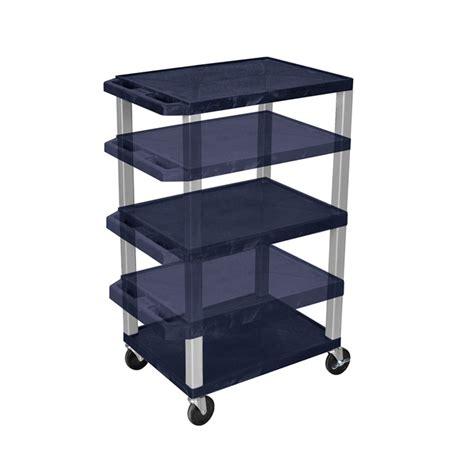 Shelf Height by Luxor Wt1642ze N Navy Blue 3 Shelf Multi Height Cart With