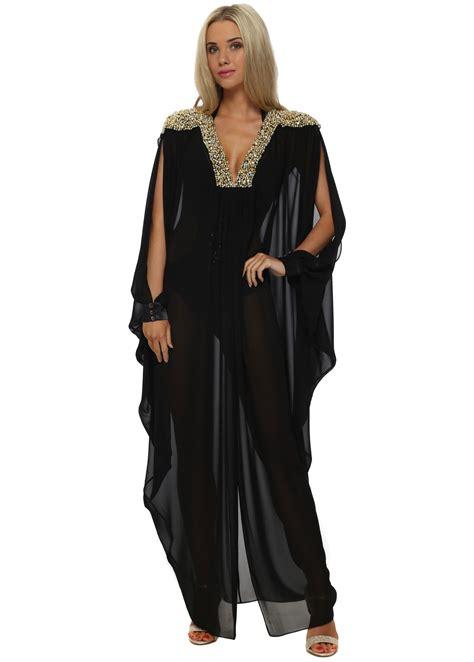 Chaftan Maxi Chiffon genese black maxi kaftan dress