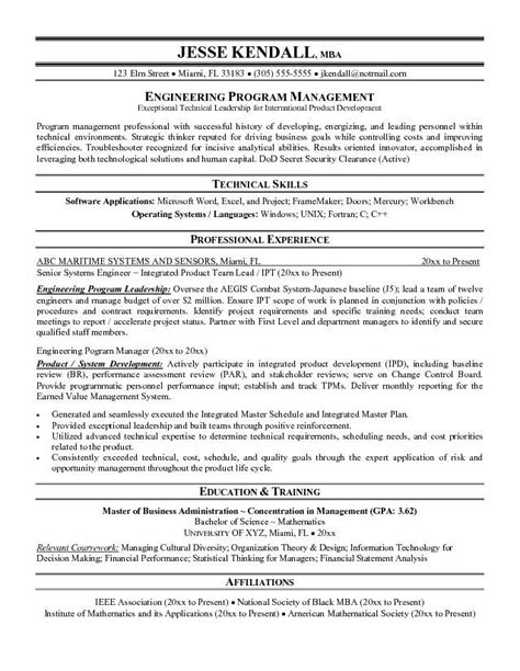 Program Manager Resume by 78 Best Images About Free Sle Resume Tempalates Image