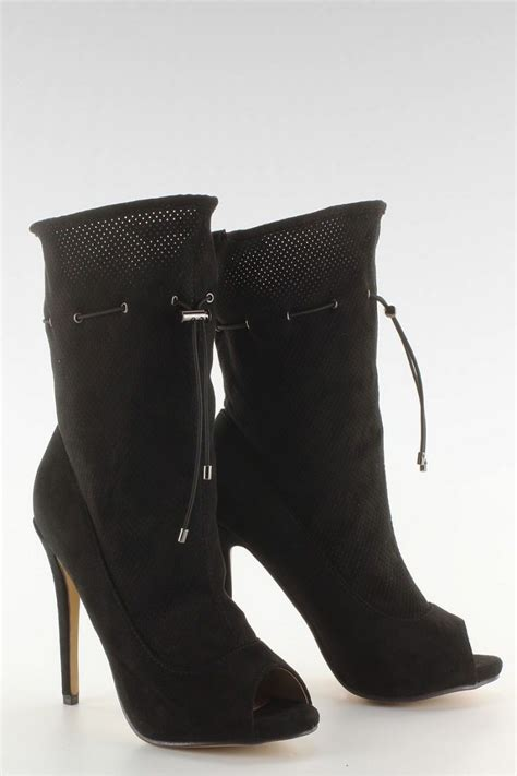 black suede high heel booties fashion e shop suede high heel peep toe booties black