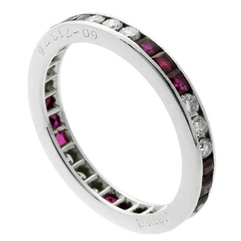 cartier ruby platinum eternity band ring at 1stdibs