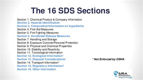 16 sections of msds 91 ghs 16 sections msds sds labelling sop ghs of
