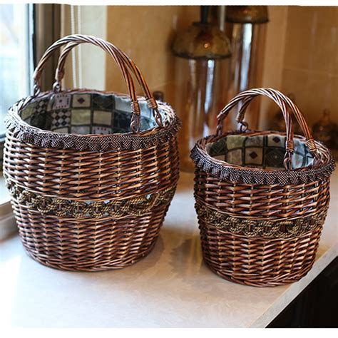 Handmade Laundry Basket - handmade vintage wicker laundry basket home decoration