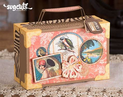 gift boxes svg kit svgcuts vintage suitcase with labels gift box or favor box