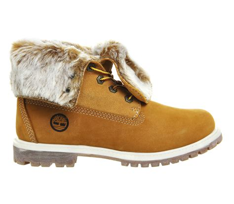 timberland boots with fur timberland fur fold boots in lyst