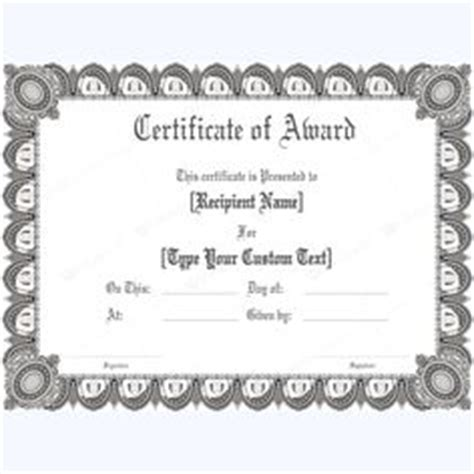 formal award certificate template free award certificates templates editable award