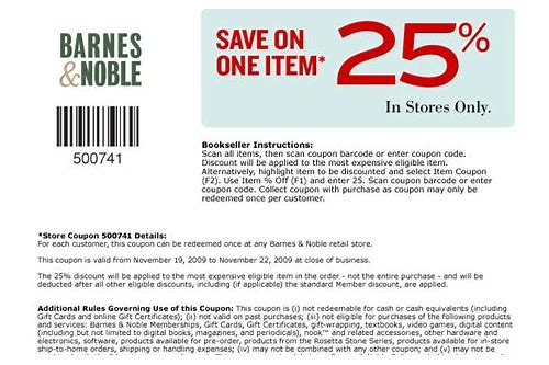barnes and noble printable coupons for non members