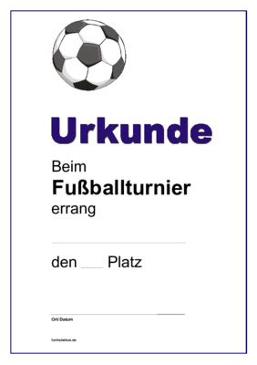 Word Vorlage Urkunde Sport Urkunde Fu 223 Ballturnier Fu 223 Vorlagen Und Muster Downloaden