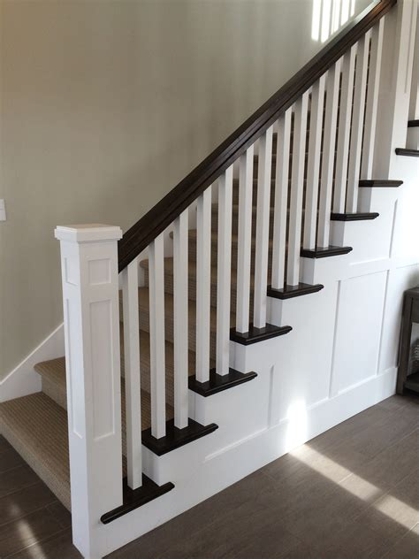 Banister Balustrade White Newel Post Charcoal Stained Handrail White Square