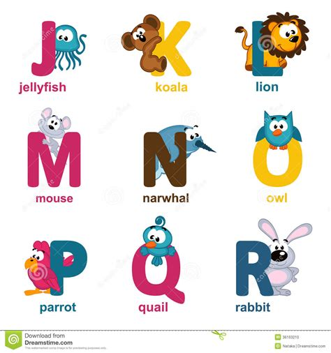 Animal J by Alphabet Animals From J To R Stock Vector Illustration