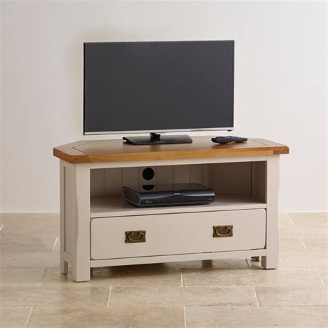 Painted Tv Cabinet by Painted Corner Tv Cabinet In Rustic Oak Oak Furniture Land