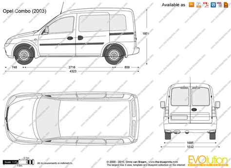 opel combo 2008 the blueprints com vector drawing opel combo c
