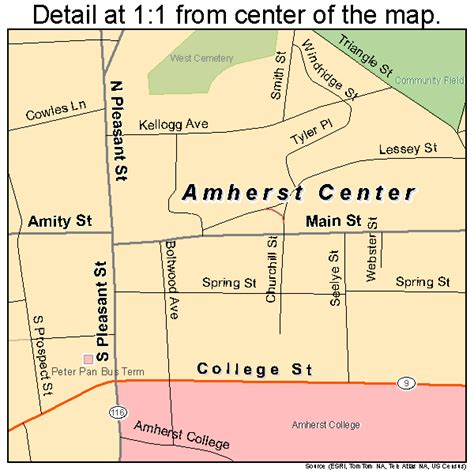 Umass Amherst Mba Road Map by Amherst Center Massachusetts Map 2501360