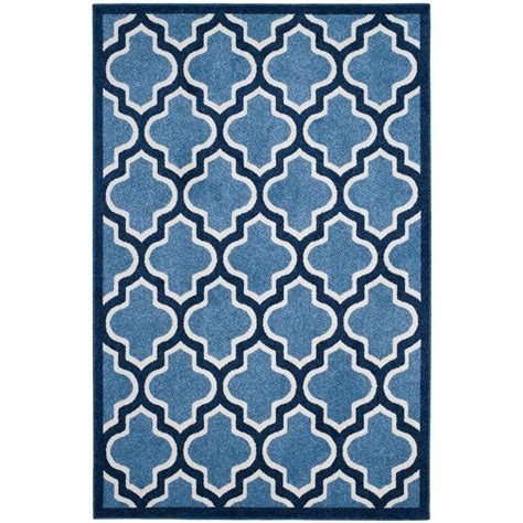 Outdoor Rug 6 X 9 Safavieh Amherst Light Blue Navy 6 Ft X 9 Ft Indoor Outdoor Area Rug Amt420q 6 The Home Depot