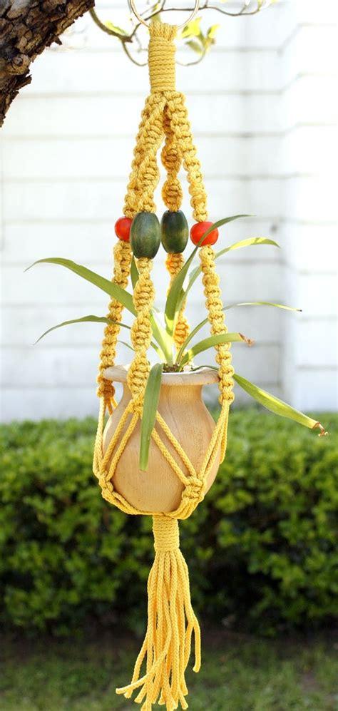 Handmade Macrame Plant Hangers - macrame plant hanger yellow dandelion handmade macrame