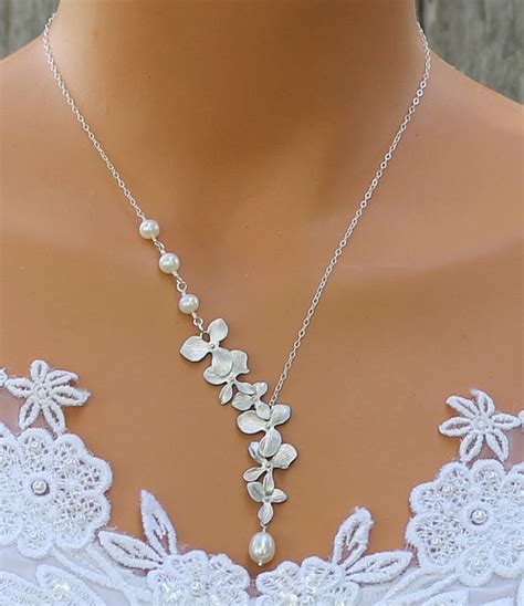 Handcrafted Bridal Jewelry - orchid necklace freshwater pearl necklace orchid by