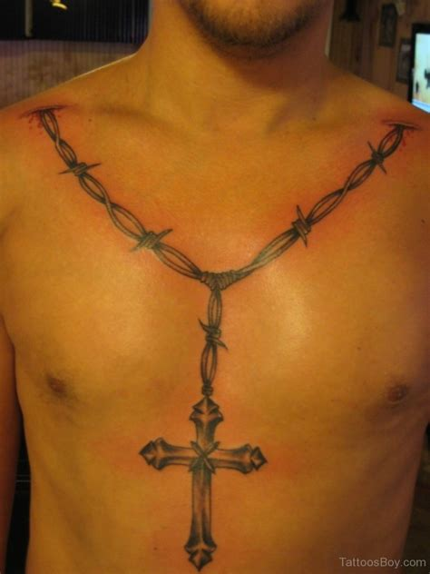 tattoo cross on chest barbed wire tattoos designs pictures
