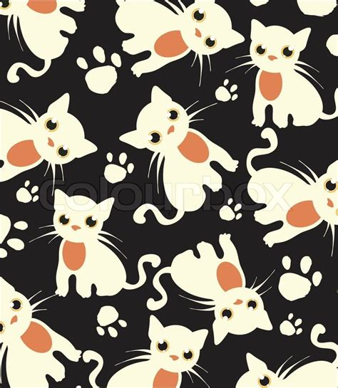 cat background pattern tumblr beautiful dark background with white cats pattern vector