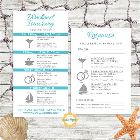 Destination Wedding Brochure For Guests by Simple And Modern Wedding Itinerary Card With Rsvp Card
