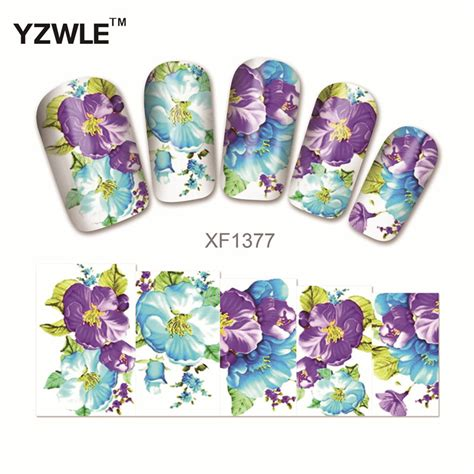 Nail Sticker Manicure Decoration Tatto 6 yzwle water transfer nail decals purple flower designs watermark nail stickers tattoos