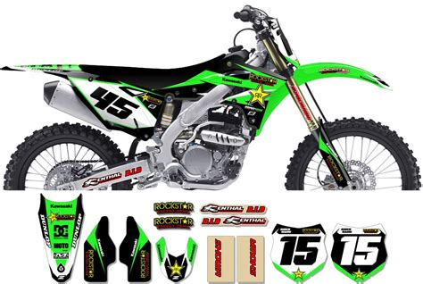 Decal Crf Kode 011 015 kawasaki rockstar graphic kit factory black green 11