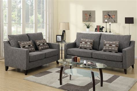 Fabric Sofa And Loveseat by Poundex Avery F7544 Grey Fabric Sofa And Loveseat Set