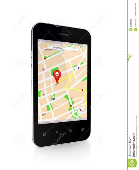 gps for mobile phones modern mobile phone with gps navigator stock photography