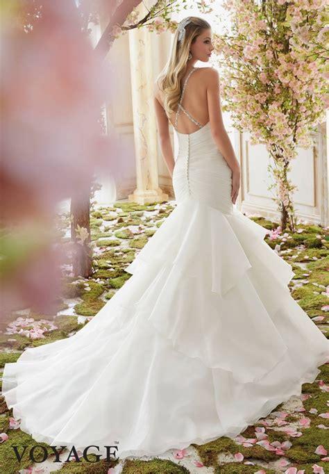 wedding dress mori 6833 v neckline lace top dresses