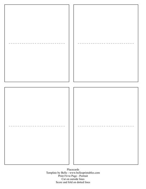 blank place card template 4 per sheet table name cards template 28 images table tent