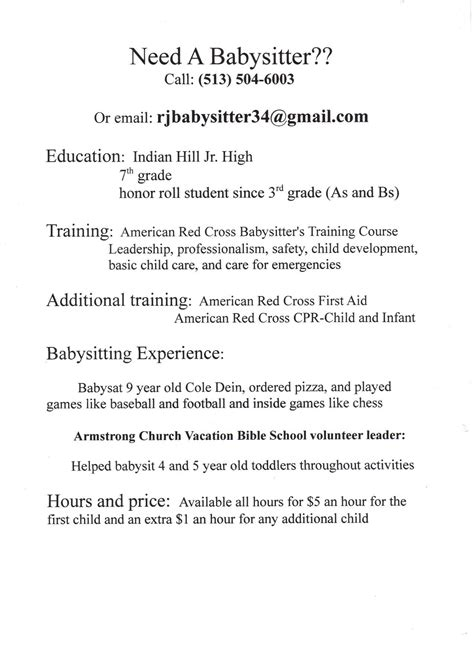 babysitting description on resume resume 28 images