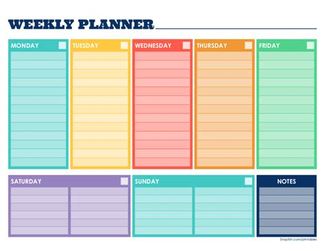 weekly planner template free printable weekly schedule