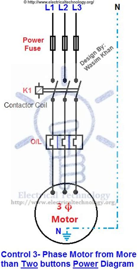 3 phase motor from more than two buttons power