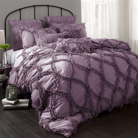 purple ruffle bedding purple comforter sets purple bedroom ideas