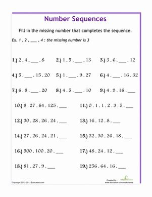 Arithmetic Sequence Practice Worksheet by Sequences Worksheet Worksheets Releaseboard Free